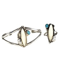 Vintage Silver Native American Cuff Bracelet Ring Set Turquoise Mother of Pearl c1960