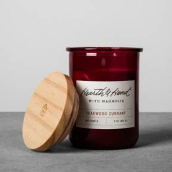 Lidded Jar Container Candle 8oz - Teakwood Currant - Hearth & Hand™ with Magnolia