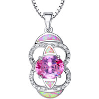 Sterling Silver Circles and Ovals W. Pink Fire Opal and CZ Pendant Necklace