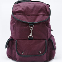 Deena & Ozzy Waxed Canvas Dogclip Backpack in Burgundy - Urban Outfitters