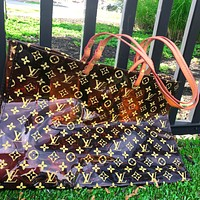 Onewel LV Louis Vuitton Fashion Transparent jelly Shopping Bag Leather Shoulder Bag Satchel Tote Two Piece Set Brown
