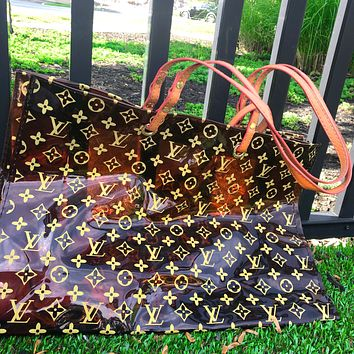 Alwayn LV Louis Vuitton Fashion Transparent jelly Shopping Bag Leather Shoulder Bag Satchel Tote Two Piece Set Brown