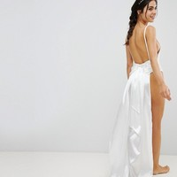 PrettyLittleThing Bridal Bow Back Swimsuit at asos.com