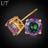 Fashion Women Earrings Platinum/18K Real Gold Plated 2.75 Carat Cubic