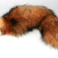 "13"" Classic Red Fox Tail Butt Plug! Real Fur, Metal or Silicone Butt Plug. BDSM, Cosplay, Neko, Fetish wear, Anal Plug (MT) mature"