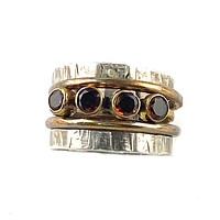 Garnet Sterling Silver Two Tone Stack Ring