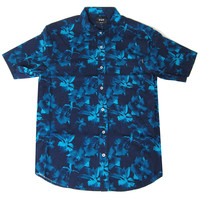 HUF: Floral Short Sleeve Shirt Button Down Shirt - Navy