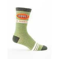 Adult In Training Men's Crew Socks in Retro Green Ringer