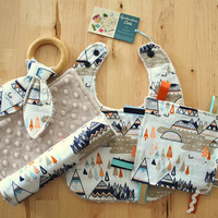 Baby Boy Gift Set - Woodland Teepee - Bib, Burp Cloth, Crinkle Teether w/ Maple Teething Ring, and Crinkle Toy - Indian Summer Collection