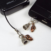 Peter Pan Kiss Acorn and Thimble Dust Plug or Phone Charm, for iPhone or any 3.5mm Headphone Jack