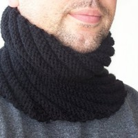 Hand Knit BLACK  COWL SCARF for Men-  loop  Scarf-Mens Scarf  - Loop neckwarmer Gift for Him -Menswear- winter accessories fall christmas
