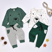 Baby Boys & Toddler Bear Print Sweatshirt Tops and Pants Outfit