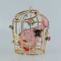 Summer Birdcage metal frame clutch bag with circle metal handle