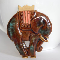 Art Deco French Egyptian Revival Glazed Ceramic Elephant Brooch With Gold Backing and Trombone Clasp