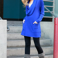 City Chic Cowl Neck Tunic Top - Royal