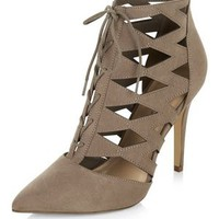Light Brown Suedette Cut Out Pointed Ghillie Heels
