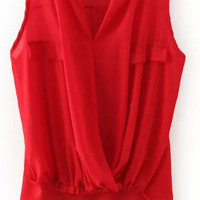 Red V-Neck Sleeveless Draped Top