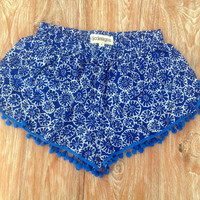 Pom Pom Shorts - Cobalt Retro Flower Print with Cobalt Pom Pom Trim - lightweight fabric