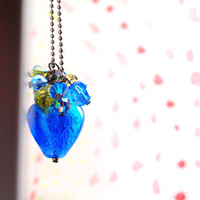 Cobalt blue long necklace with gunmetal ballchain by sianykitty