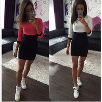 Color Block Round Neck Bodycon Dress
