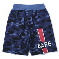 Bape Aape Fashion New Letter Print Women Men Sports Leisure Camouflage Shorts Blue