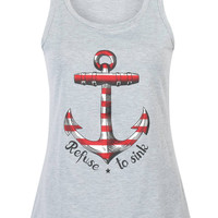 Gray Anchor And Letter Print Vest