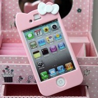 Newest iPhone 4G/4S Hello Kitty Face Hard Case/Cover/Protector (Light Pink)