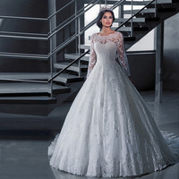 2016 Luxury Vintage Long Sleeves Wedding Dresses Ball Gown Princess Long White Tulle Appliques Bridal Gowns Robe De Mariage LK99