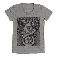 Boho Gypsy Sun And Moon Womens Athletic Grey T Shirt - Graphic Tee - Clothing - Gift