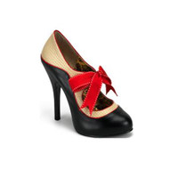 1940s Tempt Champagne & Black with Bow Heels