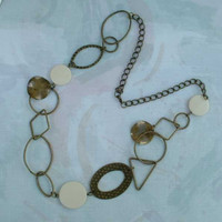 Long Retro Chain Necklace w Geometric Dangles Shapes Jewelry