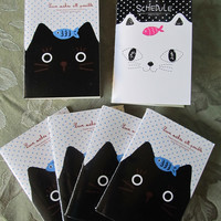 A Set of 6 Pack Kitty Note Pad With Lines
