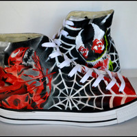 Custom Shoes, Custom Converse, Unisex Converse, Venom Shoes, Carnage Shoes, Painted High Tops, Hand Painted Shoes, Unisex High Tops, Venom