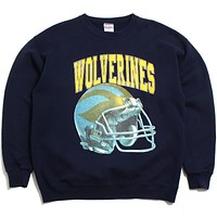 University of Michigan Wolverines Arch & Faded Helmet Santee Crewneck Sweatshirt Navy (XL)