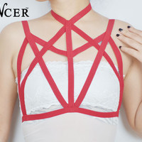 New Cage Bra fashionable sexy geometric red spandex  harness  for lady