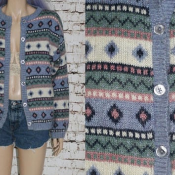 90s Fair Isle LL Bean Cardigan Sweater jumper pullover Nordic Icelandic grunge hipster boho S M Norwegian oversize Knit Pasel Mohair soft