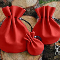 Leather Bags, 3pcs Set of Red Leather Bags, Handmade Genuine Leather Bags