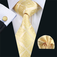 FA-1036 Men`s Tie Yellow Novelty Silk Jacquard Neck Tie Tie Hanky Cufflink Set Ties For Men Business Wedding Party Free Shipping