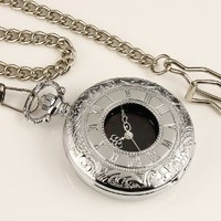New Mens Stainless Steel Case Black Dial Roman Numbers Antique Pocket Watch with Chain