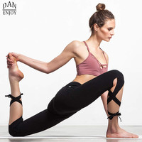 Women Ballerina Yoga Pants Sport Leggings Fitness Cross Yoga High Waist Ballet Dance Tight Bandage Yoga Cropped Pants Sportswear