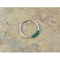 Cartilage Hoop Earring with Emerald Green Wrap Septum Tragus Nose Ring Upper Ear Piercing 20 Gauge