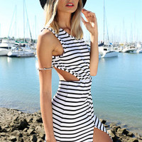 Stripe Backless Long Party Dress