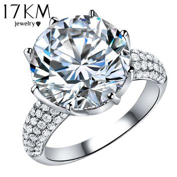 Luxury Fashion Big Crystal Ring Silver Color Full Rhinestone Personality Rings For Women Anel Lovely Jewelry Valentine's Gift