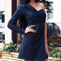 Autumn and winter new sexy one-shoulder double-breasted striped suit dress