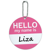 Liza Hello My Name Is Round ID Card Luggage Tag