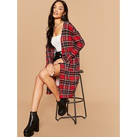 SHEIN Patch Pocket Rib-knit Coat