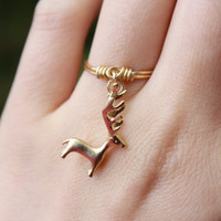 Reindeer ring, Golden reindeer ring, Thin gold ring, Dangle Ring, Charm Ring, Wire Ring, Wire Wrapped, Dainty Ring, Gift, Stackable