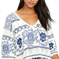 Nightwalker The Bae Blue and White Print Sweater