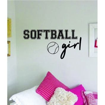 Softball Girl Wall Decal Sticker Vinyl Art Bedroom Room Home Decor Quote Ball Teen Baby Nursery Fitness Inspirational Sports Baseball