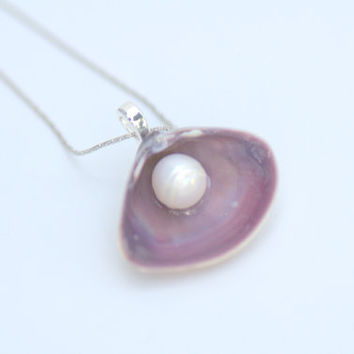 Real Purple Seashell Pendant Necklace with Freshwater White Pearl- Silver Platinum 18 inch Chain Beach Wedding Mermaid Bridesmaid Favor Gift